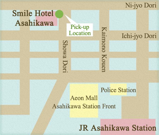 地図:集合場所(スマイルホテル旭川)
